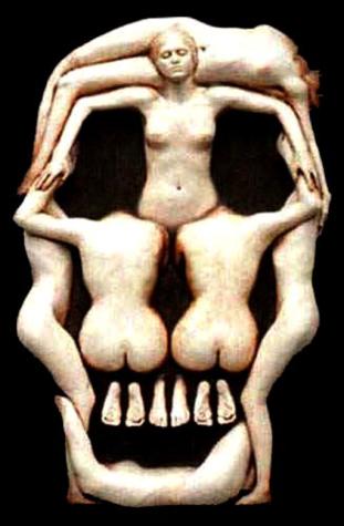 skull schedel Dali women vrouwen naakt naked